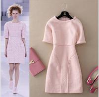 Luxuious Brand Fashion Runway Autumn Woolen Dress For Ladies 2014 New Designer Plus Size Half Sleeve Slim Knee length Dress Pink