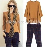 new 2014 women's sets 2pcs fashion long sleeve ruffles bottom loose top plaid trousers women clothing set free shipping