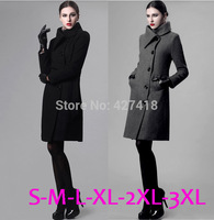 Large Turn Down Collar Wool Winter Coat Women Woolen Trench Coats With Belt Woman Single Breasted Long Overcoat Free Shipping