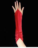 wedding accessories Fingerless Pleated Red Elbow Length Satin Bride Gloves luvas de noiva luvas femininas