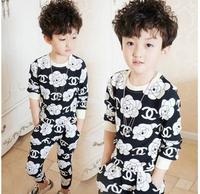 Retail 2014 autumn hot sale children fashion CC rose suit kids top + pants 2 pieces sets