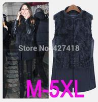 New Real Genuine Knit Rabbit Fur Vest With Raccoon Fur Gilet Waistcoat Winter Fur Jacket Cardigan autumn winter outwear women