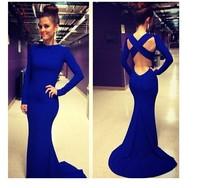 Hollow Out Bodycon Bandage Floor-Length Maxi Dress 2014 Women Fashion Summer Sexy Club Dress Spandex Blue Color