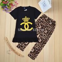 Retial New Fashion Summer 2CC Children Girls Clothing Sets Black Shirt Lace Dress +Leopard Leggings Cool Baby Kids 2pcs Suits