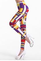 2014 New Items Women Pants Fitness, Colorful Print Geometric Legs-shaping Fashion Legging , Punk LC79346 Free Shipping