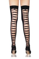 Fashion Women Hot sexy Black Cutout Lycra opaque thigh highs with criss cross back seam meias knee socks LC7818 Free Shipping