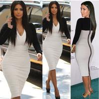 Free Shipping 2014 Victoria Style,Zipper Back  Stretch Cotton Long Sleeve Slim Dress 140928HU01