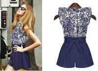 2014 new European women fashion blue summer suit(freeshipping)