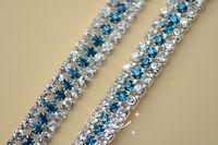 3 row 7.5mm craft accessories, Crystal Rhinestones blue zircon chain  trims Applique for Garment Accessories