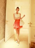Size 4,6,8,10 Women Cute Sweet Orange Flower Pleated Chiffon Short Cocktail Dress Free Shipping f6044