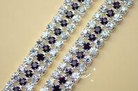free shipment 3 row 7.5mm deep purple Rhinestones chain  trims Applique for Garment Accessories