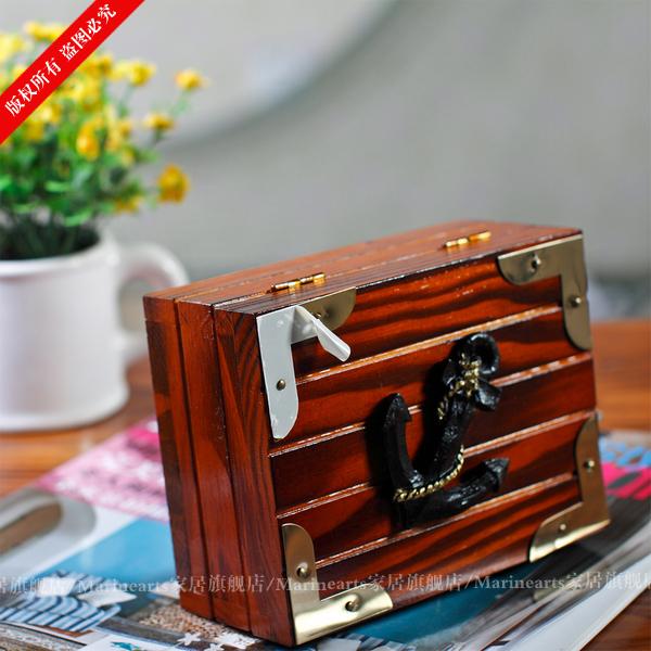 Морской - стиль деревянные аксессуары для дома ручной работы рукоделие коробка для ювелирных изделий для хранения творческий украшения