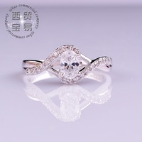 Fashion luxury Women Romantic Wedding Jewelry Ring 18K White Gold Plated Ring Zircon free shipping JZ009