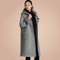 Large size ladies winter long section of loose woolen cape coat  Thick warm quilted jacket  SIZE S-XXL