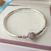 NEW S925 Sterling Silver Bangle Bracelet with Pink Heart Clip Clasp Sparkling Heart Bangle Fit European Charm Beads Murano Beads
