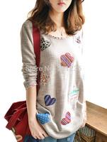 Free shipping new 2014 Autumn Floral patch long sleeve t-shirt Women casua top