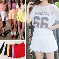 2014 American Apparel Street Fashion Lady High Waist Ball Tennis Pleated Skirt XS-L White Black Red Pink Yellow