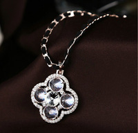 Fashion Brand New Rose gold plated Clear Siwss zircon clover shape pendant woven rope long necklace wholesale