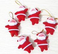 Free Shipping 20pcs/lot Cute Xmas Decor Santa Claus Ornament Hanging Christmas Decoration Toys