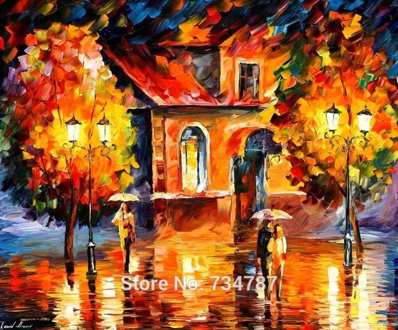 Handmade Palette Knife Paintings On Canvas Cityscape Rain Impression Orange Wall Art Leonid Afremov Oil Paintings Reproductions(China (Mainland))