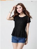 2014  New Lace Blouse Floral Sheer Blouses Blusa Renda Short Sleeve Tee Shirt Top For Women Clothing Blusas Femininas