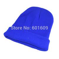Free Shipping Women Men New Winter Solid Color Plain Beanie Knit Ski Cap Skull Hat Warm Cuff Blank Beany dark blue TW325