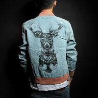 Spring and autumn new Fashion men's coats casual / Leisure denim jacket men deer Christmas gift male denim jacket