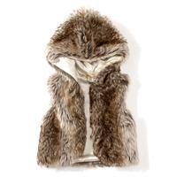 Hu sunshine wholesale 2014 girls high quality autumn winter fake fur waistcoat vest with hooded WW09280415H