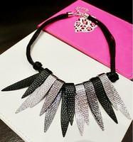 2014 New Style Western Statement Fashion chain pendant Choker Tassel metal blade black rope Women Lover's Necklace Jewelry