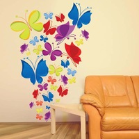 Free shipping JM7271 New Arrival Colorful Butterful Wall Stickers For Home Decor Lage Size 130*70cm Finish On The Wall
