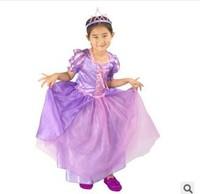 Girls Purple Princess Dress Costume Cosplay  Kid Party Clothing Fantasy