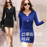 Hot Sale 3 Colors 2014 Fall And Winter Clothes Women Dress Elegance Knit Long-sleeved V-neck Slim Thin Package Hip Dress M-XXXL