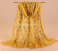 mu610 newst style shawl high quality chiffon with embroidery long scarf 190cm*70cm elegant muslim islamic hijab