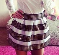 New 2014 Women skirt Fashion Brand Fluffy Gold Rivet Elastic Ball Gown Plus Short Skirt For Women Free Shipping