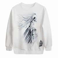 Free Shipping Gothic fashion rock style garments skeleton hoodies white and black color sweatshirt P249