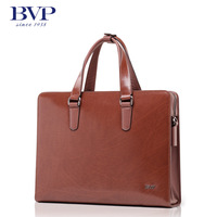 BVP high-end men genuine real leather 14'' laptop casual briefcase messenger shoulder handbag tote