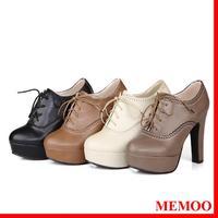 MEMOO 2014 Fashion Women Pumps Round Toe Spike High Heels Waterproof platform Knot Spring/Autumn US Size 4-12 Rubber A3948