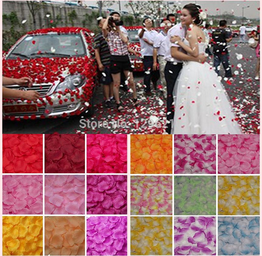 40 colors 5000pcs/lot Artificial Confetti Wedding/party Decorations silk Flowers Wedding Rose Petals(China (Mainland))