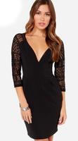 Long Sleeve Lace Sleeve Bodycon Deep V Neck Mini Dress Little Black Dress Vestido Sexy Dress Club Wear 21710