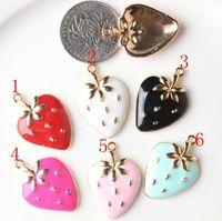 Enameled strawberry charm pendant, 6 colors mixed, 21x30mm, wholesale
