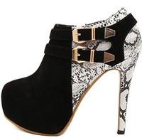 Women's pumps! New 2014 women's winter shoes high heels single shoes thin heel boots leopard hollow black high-heeled shoes