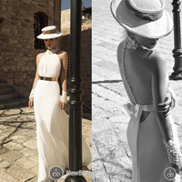 New Design 2015 Sheath High Collar Long Sleeve Sheer Back Side Slit Chiffon Floor Length Country Wedding  Dresses