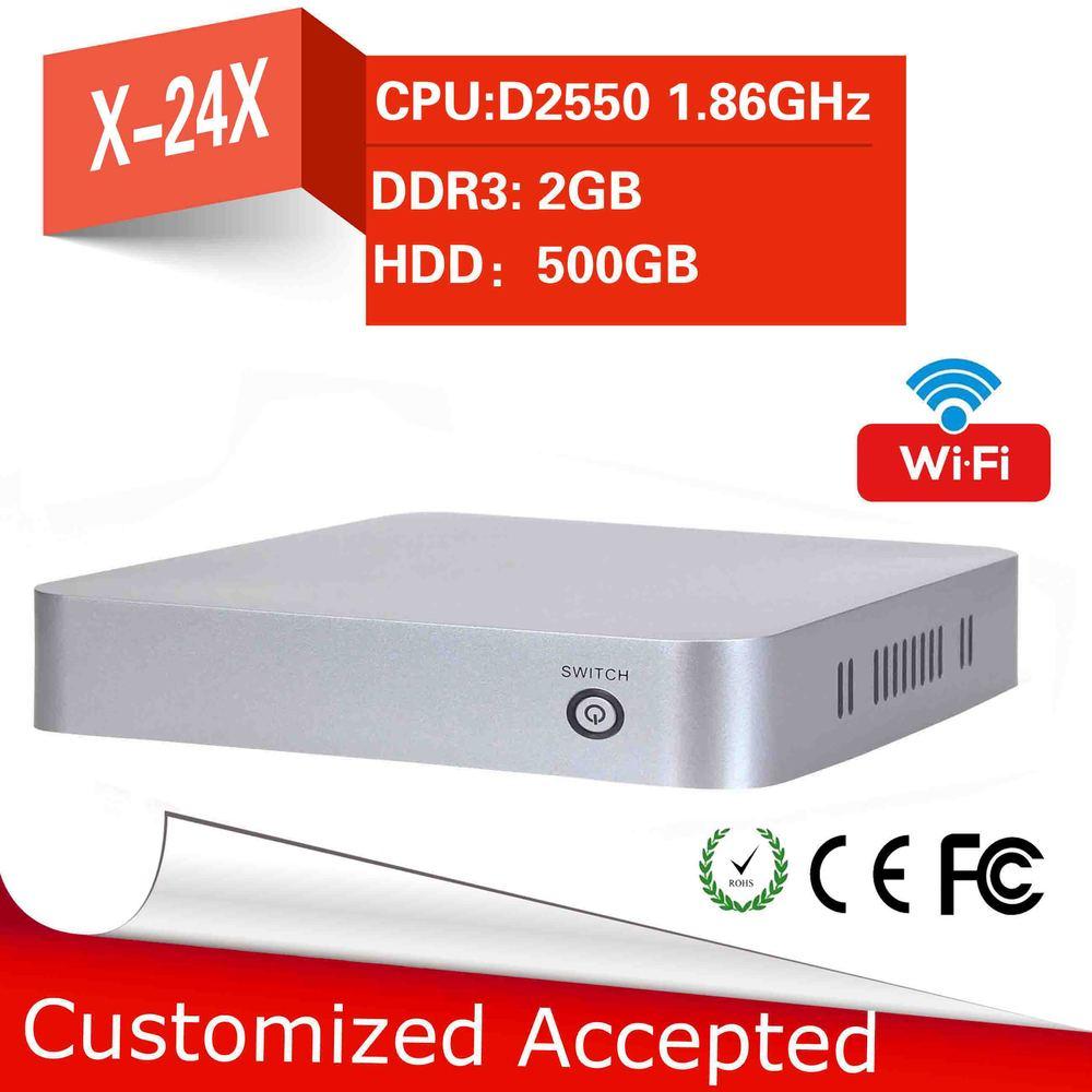 computer accessories Intel Atom D2500/2550 industrial computer fan mini pc y-24s 2gb ram 500gb ssd mini pc thin client(China (Mainland))