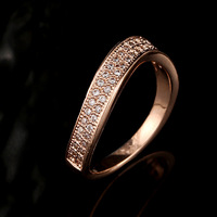 Wholesale Korean Version Of The Latest Micro Inlay Zircon Rose Gold Platinum Rings For Women