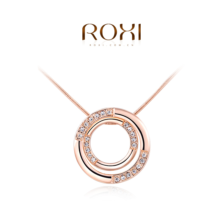 Wholesale ROXI Fashion Accessories Jewelry CZ Diamond Austria Crystal Double Circle Pendant Necklace Love Gift for