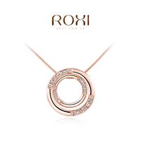 Wholesale ROXI Fashion Accessories Jewelry CZ Diamond Austria Crystal Double Circle Pendant Necklace Love Gift for Women