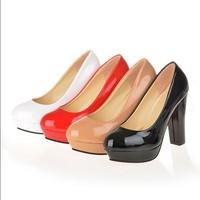 Women Chunky High Heels Shoes Faux Leather Womens Pumps Platform Fashion Wedding Bridal Ladies Shoes W2062