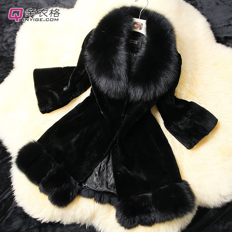 2014 New Rex fox fur collar wool coat Leather grass long Plus size women fat outwear Fashion Casacos Femininos Casaco De Pele(China (Mainland))