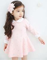 Free Shipping 5 pcs/lot  Girls Autumn Cotton Turn-down Collar Dot Bow Regular Full Sleeves Dresses Girl Dress  Height 100-140cm