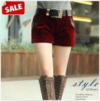 2014 Fashion Autumn and Winter women high waist boot shorts patchwork plus size gold velvet female shorts